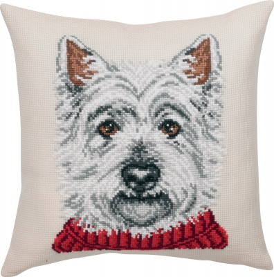 click here to view larger image of White Terrier Cushion (counted cross stitch kit)