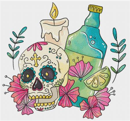 click here to view larger image of Sugar Skull With Candle (chart)