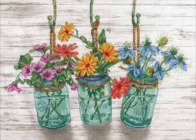 click here to view larger image of Flowering Jars (counted cross stitch kit)