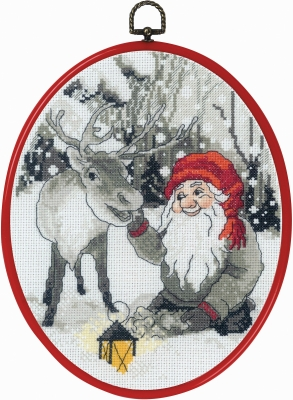 click here to view larger image of Elf and Reindeer (counted cross stitch kit)