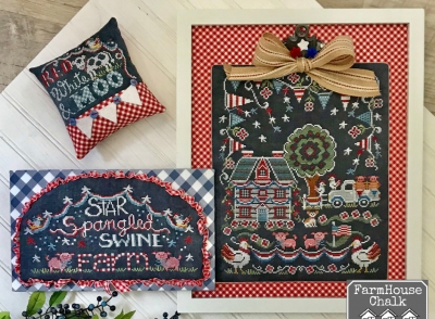 click here to view larger image of Farm House Chalk - Star Spangled Swine Farm (3 designs) (chart)
