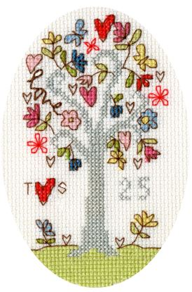 click here to view larger image of Silver Celebration Card (counted cross stitch kit)