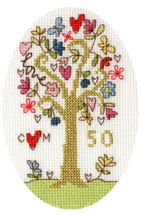 click here to view larger image of Golden Celebration Card (counted cross stitch kit)