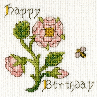 click here to view larger image of Rose - Happy Birthday Card (counted cross stitch kit)