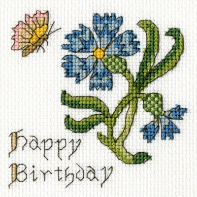 click here to view larger image of Cornflower - Happy Birthday Card (counted cross stitch kit)