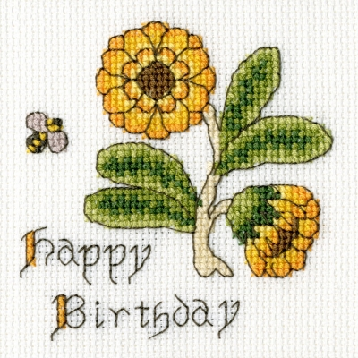 click here to view larger image of Marigold - Happy Birthday Card (counted cross stitch kit)