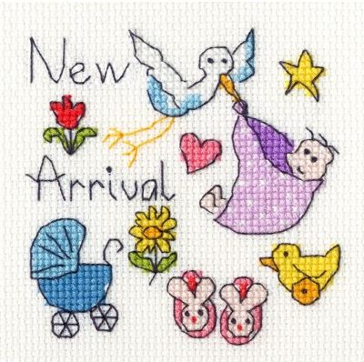 click here to view larger image of New Baby Card (counted cross stitch kit)
