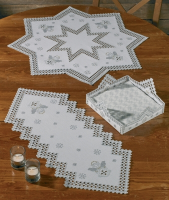 click here to view larger image of Winter Hardanger Runner  (Hardanger and Cut Work)