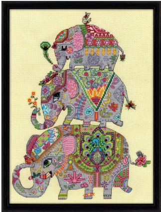 click here to view larger image of Elephant Trio (counted cross stitch kit)