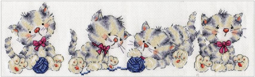 click here to view larger image of Kitty Row (counted cross stitch kit)