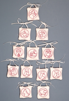 click here to view larger image of Redwork Nativity Ornaments - Set of 12 (embroidery kit)