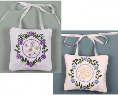 click here to view larger image of Grandma's Buttons Floral Ornament - 2 designs (embroidery kit)