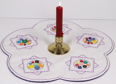 click here to view larger image of Grandma's Buttons Table Topper (embroidery kit)