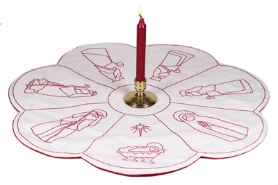 click here to view larger image of Redwork Nativity in the Round (embroidery kit)