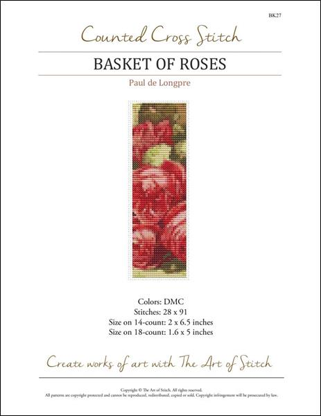 click here to view larger image of Basket of Roses Bookmark  (chart)
