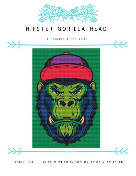 click here to view larger image of Hipster Gorilla Head (chart)