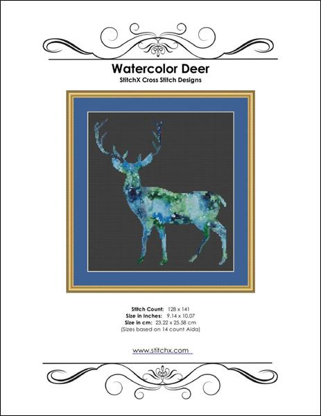 click here to view larger image of Watercolor Deer (chart)