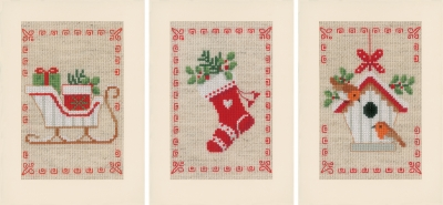 click here to view larger image of Christmas Motif Greeting Card Set of 3 (counted cross stitch kit)