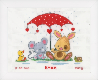 click here to view larger image of Under the Umbrella - Birth Announcement (counted cross stitch kit)