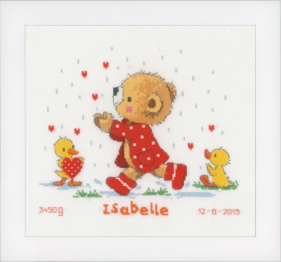 click here to view larger image of Bear & Hearts - Birth Announcement (counted cross stitch kit)