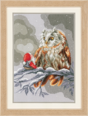 click here to view larger image of Owl & Gnome (counted cross stitch kit)