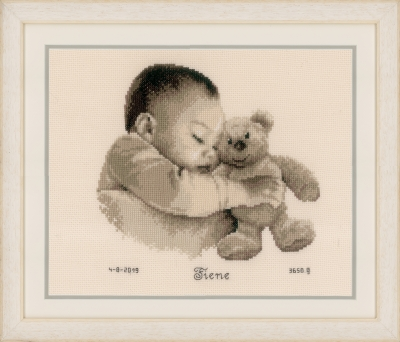click here to view larger image of Baby & Bear - Birth Announcement (counted cross stitch kit)