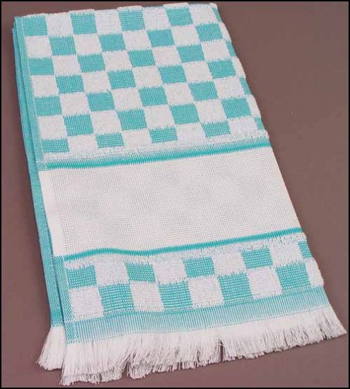 click here to view larger image of Verona Kitchen Towel - Turquoise  (stitchable)