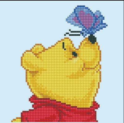 click here to view larger image of Winnie The Pooh with Butterfly (Diamond Embroidery)