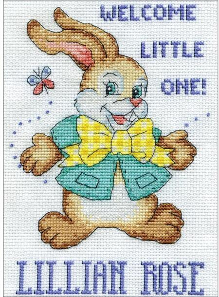Welcome Bunny - click here for more details about counted cross stitch kit