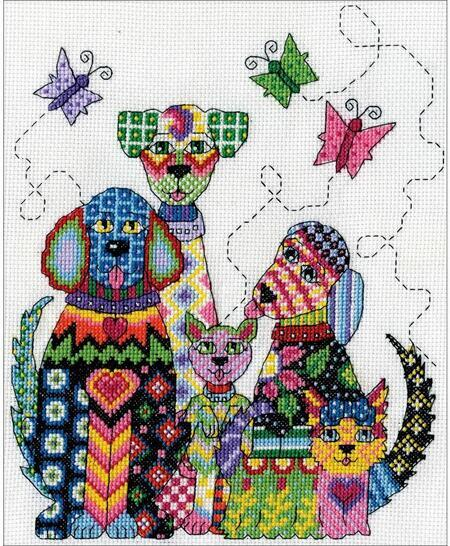click here to view larger image of Patchwork Dogs (counted cross stitch kit)