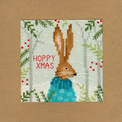click here to view larger image of Xmas Hare - Christmas Card  (counted cross stitch kit)