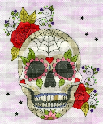 click here to view larger image of Sugar Skull - Halloween (counted cross stitch kit)