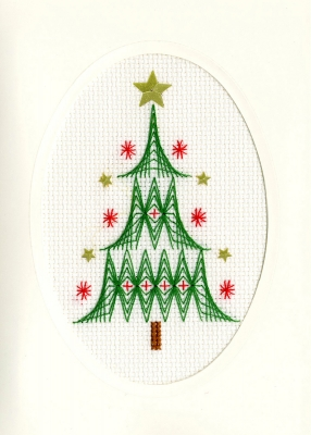 click here to view larger image of Christmas Tree - Christmas Card  (counted cross stitch kit)