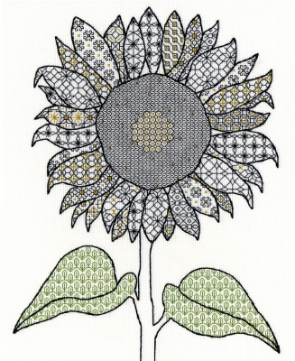 click here to view larger image of Sunflower - Blackwork (counted cross stitch kit)