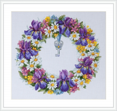 click here to view larger image of Wreath with Irises (counted cross stitch kit)