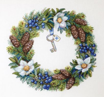 click here to view larger image of Winter Wreath (counted cross stitch kit)