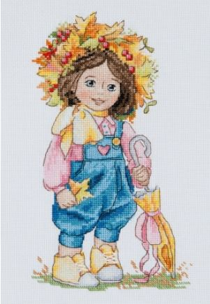 click here to view larger image of Autumn Girl (counted cross stitch kit)