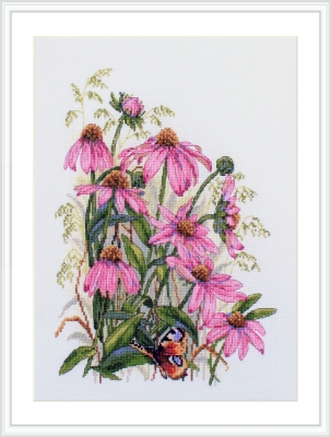 click here to view larger image of Coneflowers (counted cross stitch kit)