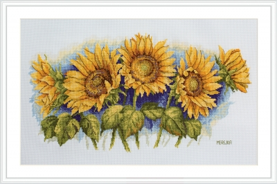 click here to view larger image of Bright Sunflowers (counted cross stitch kit)