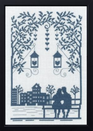 click here to view larger image of Couple on Bench (counted cross stitch kit)
