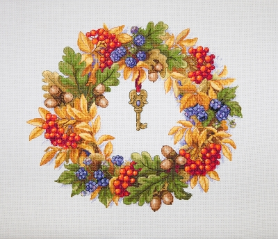 click here to view larger image of Autumn Wreath (counted cross stitch kit)