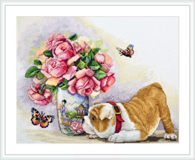 click here to view larger image of Bulldog and Butterflies (counted cross stitch kit)