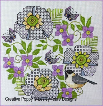 click here to view larger image of Blackwork Scabious And Chickadee (chart)