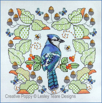 click here to view larger image of Blue Jay Amongst Oak Leaves (chart)