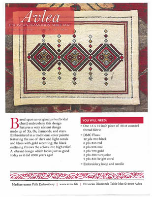 click here to view larger image of Etruscan Diamonds Table Mat (chart)