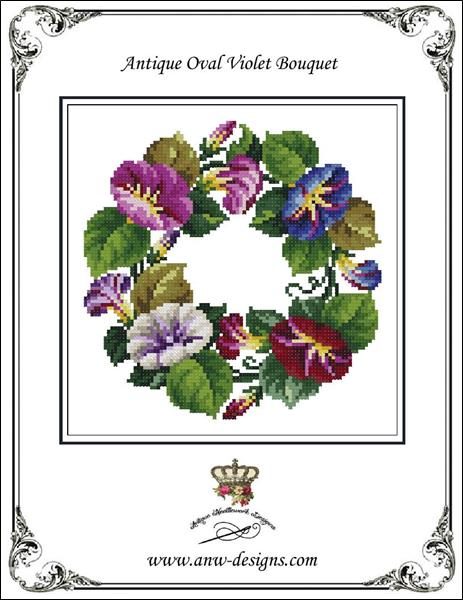 click here to view larger image of Antique Oval Violet Bouquet (chart)
