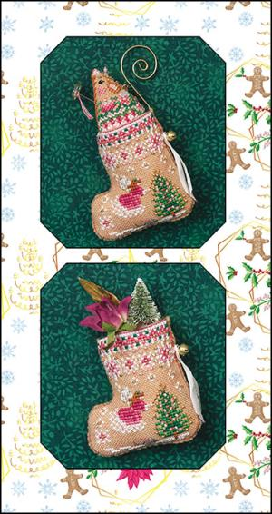 click here to view larger image of Gingerbread Fairy Mouse Stocking & Embellishments (counted cross stitch kit)