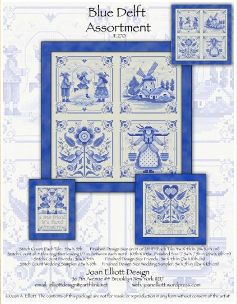 click here to view larger image of Blue Delft Assortment (counted cross stitch kit)