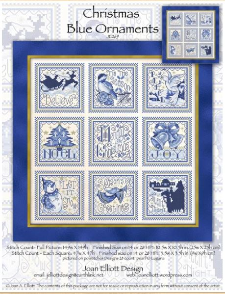 click here to view larger image of Christmas Blue Ornaments (counted cross stitch kit)