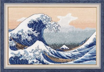 click here to view larger image of Big Wave in Kanagawa (counted cross stitch kit)
